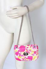 Lulu Guinness Floral Neon Roses Leather Mini Chain Purse Bag New $465
