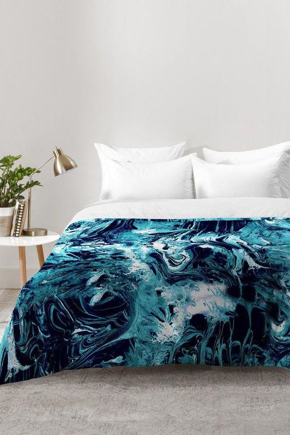Cayenablanca Blue Marble Comforter Deny Designs Home Accessories Coolbeddingsets Marble Comforter Bed Styling Marble Bedding