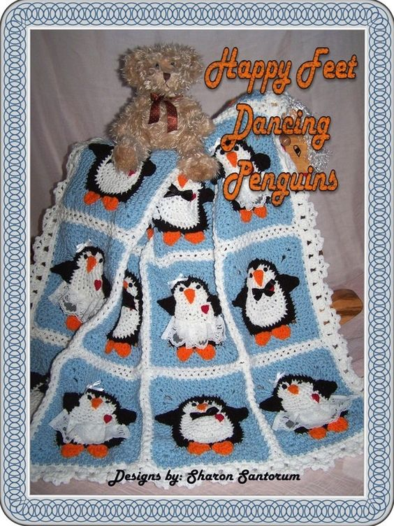 🐧 🐧 Pinguins da dança Crochetar bebê afegão ou padrão Manta -  /  🐧🐧 Dancing Penguins Crochet Baby Afghan or Blanket Pattern -