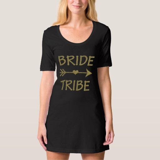 Bride Tribe Bridesmaid Gold Glitter women's
