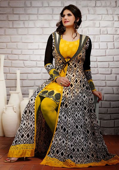 USD 63.27 Zarine Khan Yellow Resham Work Designer Salwar Suit 37660