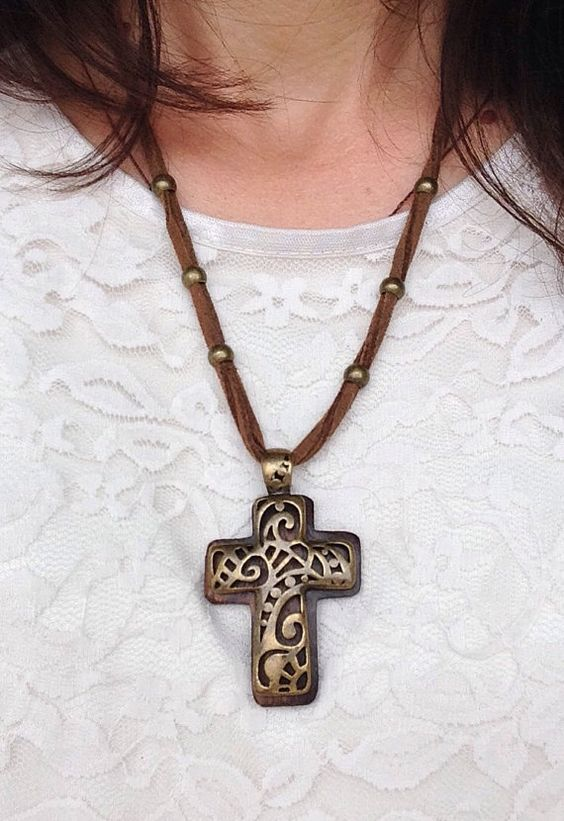Brass and Sueded Leather Cross Necklace