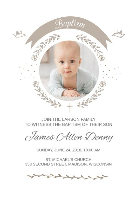 Ribbon Cameo - Baptism & Christening Invitation Template (Free ...