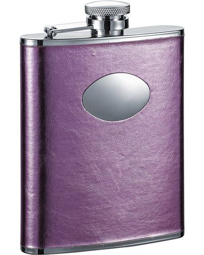 Visol Emma 6oz Pink Leatherette Stainless Steel Hip Flask