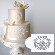 """3.75 """" H x 4.6 """" W filigrane damassé pochoir gâteau Set # 1, Côté gâteau modèle stencil, Gâteau frontière pochoirs ensemble(China (Mainland))"""