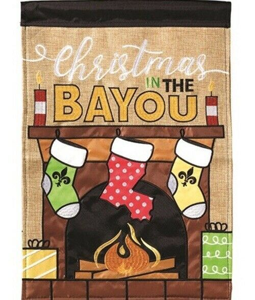 Christmas in the Bayou House Flag Burlap Double Sided Appliquéd 29