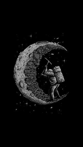 Digging The Moon Tap To See More Funny Images Quotes For A Good Laugh Mobile9 Wallpaper Space Astronaut Wallpaper Astronaut Art Astronaut black and white wallpaper