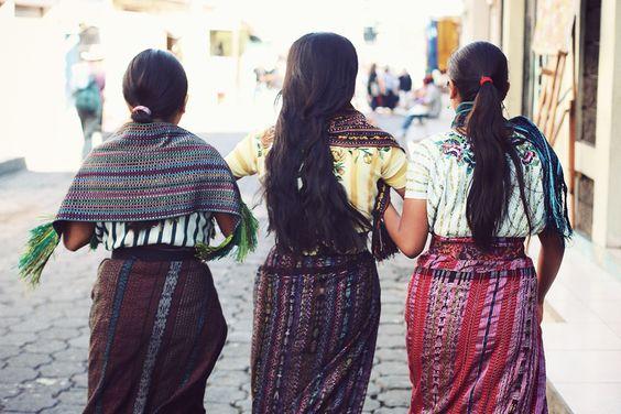 Indigenous Mayan women wearing their traditional designs
