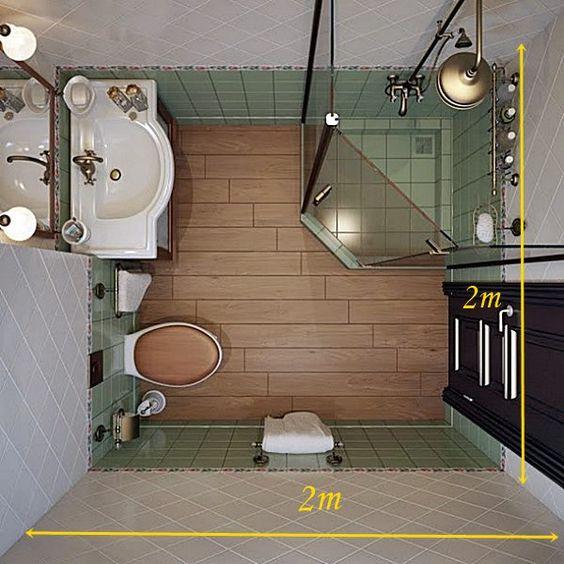 pouco espaço no banheiro Um banheiro que dá perfeitamente em uma área de 2 x 2 m.