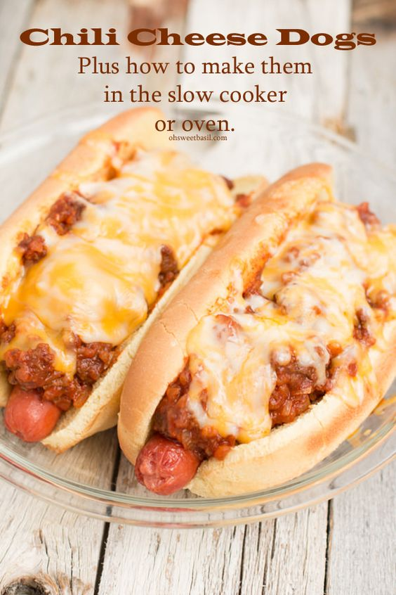 Chili Cheese Dogs In The Slow Cooker Or Oven Recipe