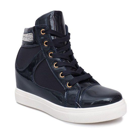 Sneakersy Na Koturnie A 35 Granatowy Granatowe Boot Shoes Women Sporty Style Womens Sneakers