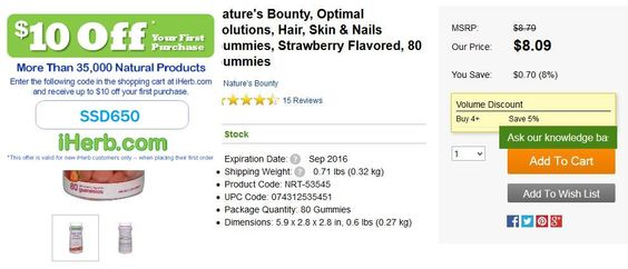 Nature& Bounty, Optimal Solutions, Hair, Skin & Nails Gummies, Strawberry Flavored, 80 Gummies   http://iherb.com/Nature-s-Bounty-Optimal-Solutions-Hair-Skin-Nails-Gummies-Strawberry-Flavored-80-Gummies/61824