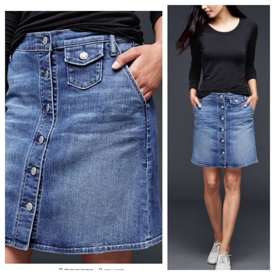 Gap Denim Skirt Jean button down skirt with stretch. Very comfy ...