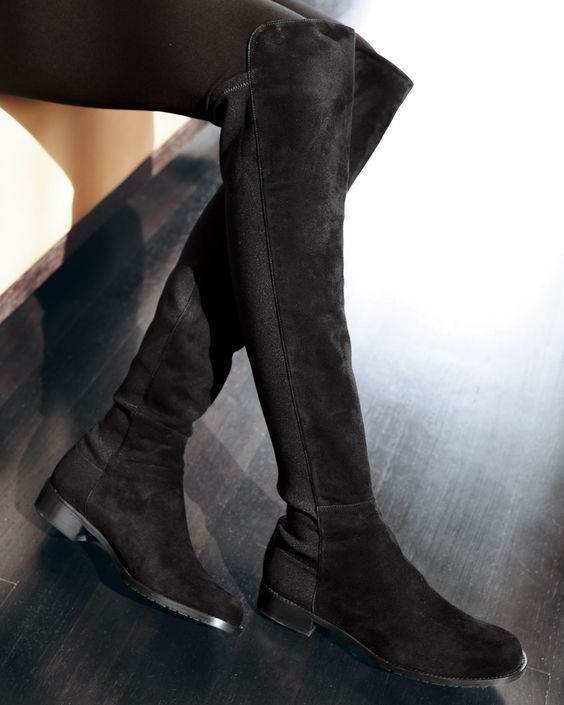Stuart Weitzman 50/50 Suede Stretch Over-the-Knee Boot, Black ...