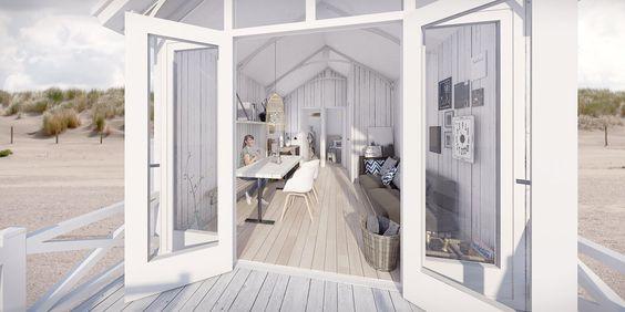 Interesse ein Strandhaus zu mieten? 20 neue Strandhäuser in Den Haag in Holland. Direkt am Strand, ausgestattet mit Schiebetüren und einer großen Veranda und einen direkten Blick auf das Meer.