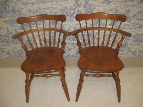 Ethan Allen Heirloom Solid Maple Comb Back Side Chairs