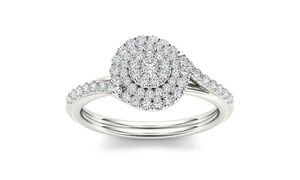 Groupon - De Couer 10k White Gold 1/2ct TDW Diamond  Bypass Halo Ring (H-I, I2)…