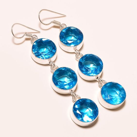"""22 GM AMAZING FACETED SWISS BLUE TOPAZ .925 SILVER EAR-RING3 """" #Handmade #Pendant"""