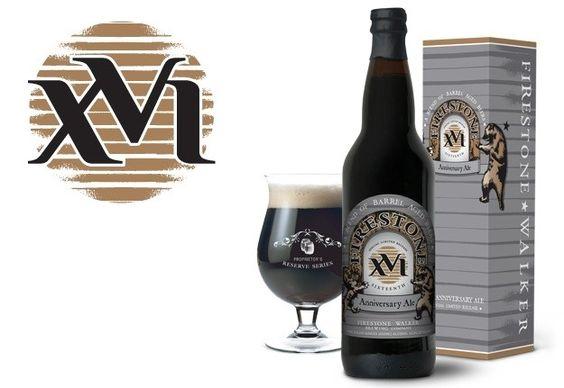 Cerveja 16 (XVI Sixteenth Anniversary Ale), estilo Wood Aged Beer, produzida por Firestone Walker, Estados Unidos. 13% ABV de álcool.