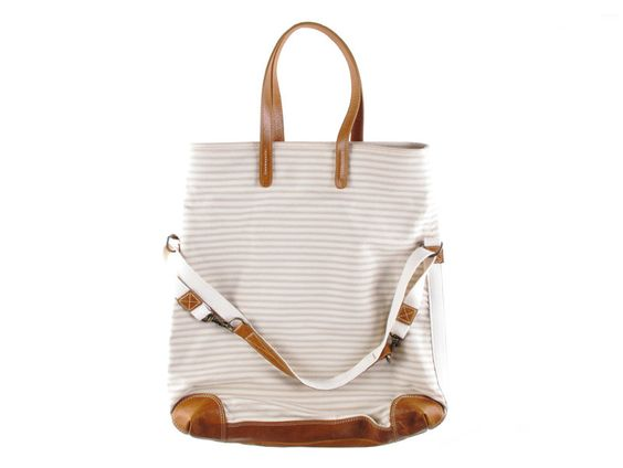 Workhorse bag in pale grey and cream ticking stripe printed fabric with leather trim