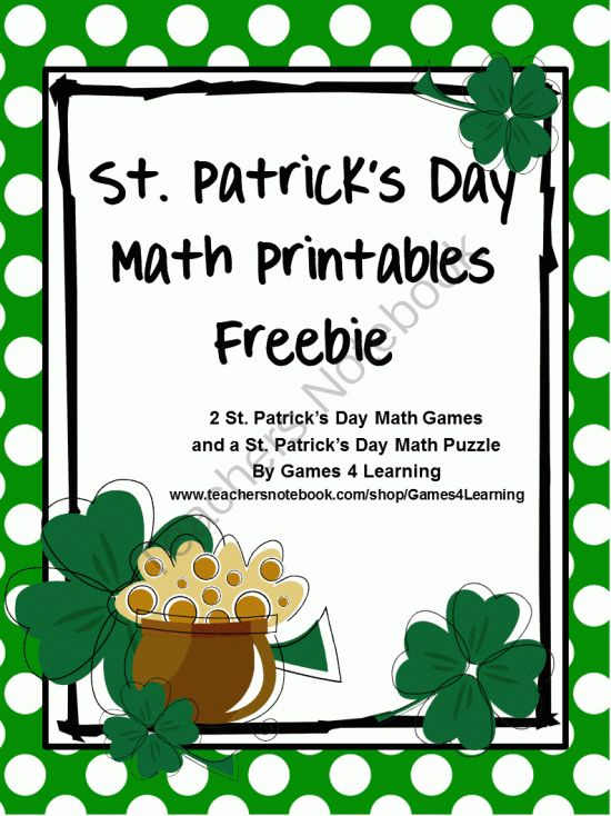 St Patricks Day Math Printables from Games 4 Learning on TeachersNotebook.com (6 pages)