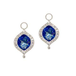 Jude Frances Laguna Sterling Silver White Sapphire & Dark Blue Quartz Marquise Earring Charms