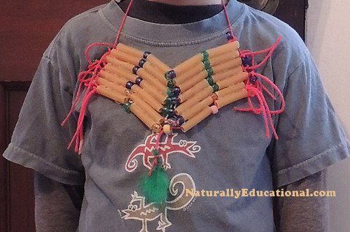Native American Comanche Tribe-Inspired Hair Pipe Breastplate Kids' Craft   Naturally Educational: Breastplate Kids, Crafts For Kids, Grandkids Things, American Indian, Indian Costume, Hair, Native American