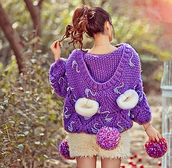 Poncho-printemps manteau avec un capuchon-asymétrique par Sexy8baby