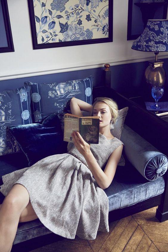 """Model reading La Chatte by Colette in her shimmered tweed dress from Anthropologie. """"…elle ne pouvait pas comprendre que l'humeur sensuelle d'un homme est une saison brève, dont le retour incertain n'est jamais un recommencement."""" ― Colette, La Chatte:"""