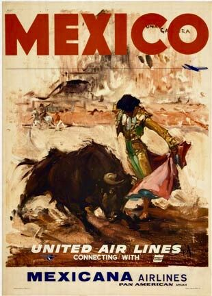 Vintage Travel Poster - Mexico - (United Airlines/Mexicana Airlines).