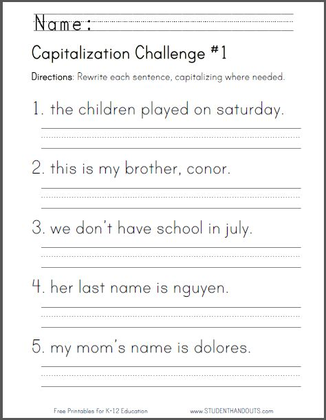 capitalization challenge worksheets free to print pdf files for lower elementary ela. Black Bedroom Furniture Sets. Home Design Ideas