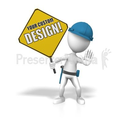 This custom clip art shows a stick figure holding up a construction sign you can add your own text and design to using our online customizer #powerpoint #clipart #illustrations