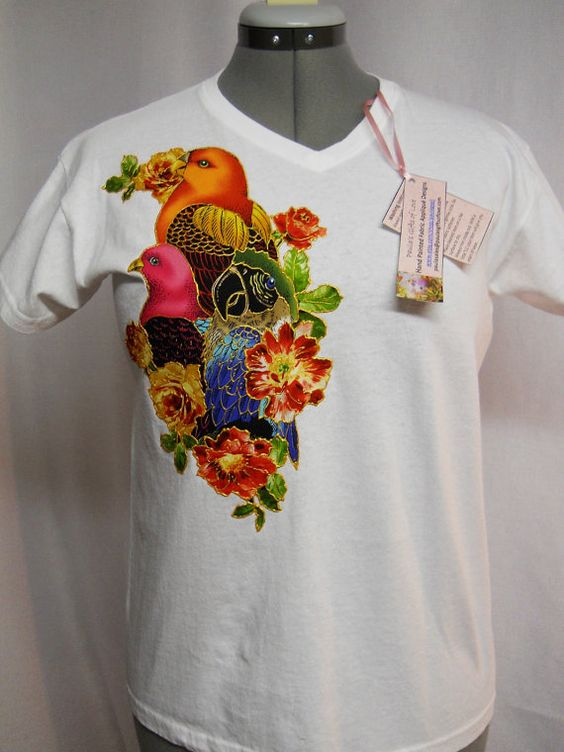 Summer Sale 30 Off Exotic Bird White T shirt Custom #Fabric #Applique Design.2GRC by paulagsell, $32.00