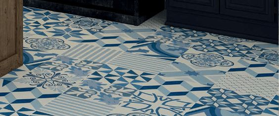 Moving Blue Natural Novambient Contemporary Rug Blue Tile Floor