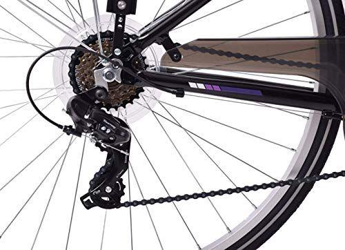 Ammaco Desire Womens Ladies 700c Wheel Hybrid Trekking City Bike 16 Alloy Frame 21 Speed Black Purple Bicycle Gear Road Bicycle Bikes Hybrid Bike