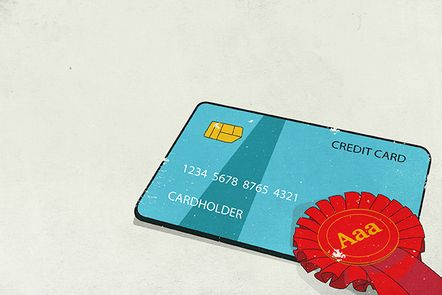 The image shows a credit card with a rosette attached. On the rosette is a triple-A credit rating (Aaa).(Money Management).