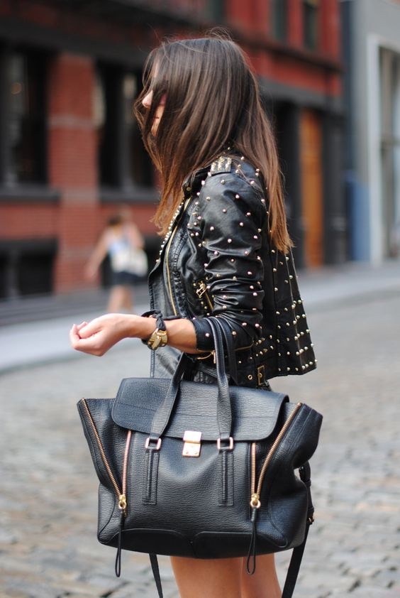 black leather studded jacket, black Philip Lim 3.1 bag, by FASHIONVIBE