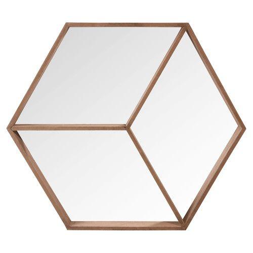 Miroir hexagonal en bois h 50 cm hans chambre for Miroir 50 x 50