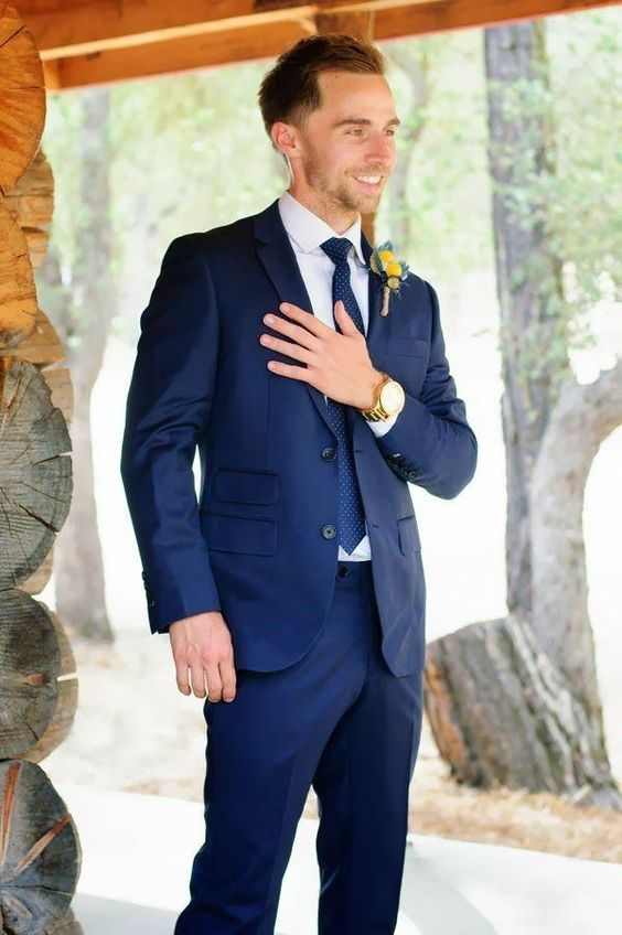 Formal Wear Men 2016 New Men Blue Suit Of Cultivate One'S Morality