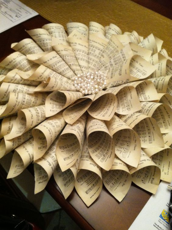 Wreath made from old church hymnal I made which is in our ...