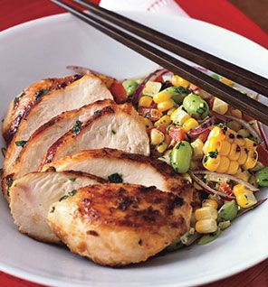 This is one of my most favorite Chicken dishes..pair w the roasted corn (I use frozen ) and edamame salad, and it's pure delish! OH, and low cal!