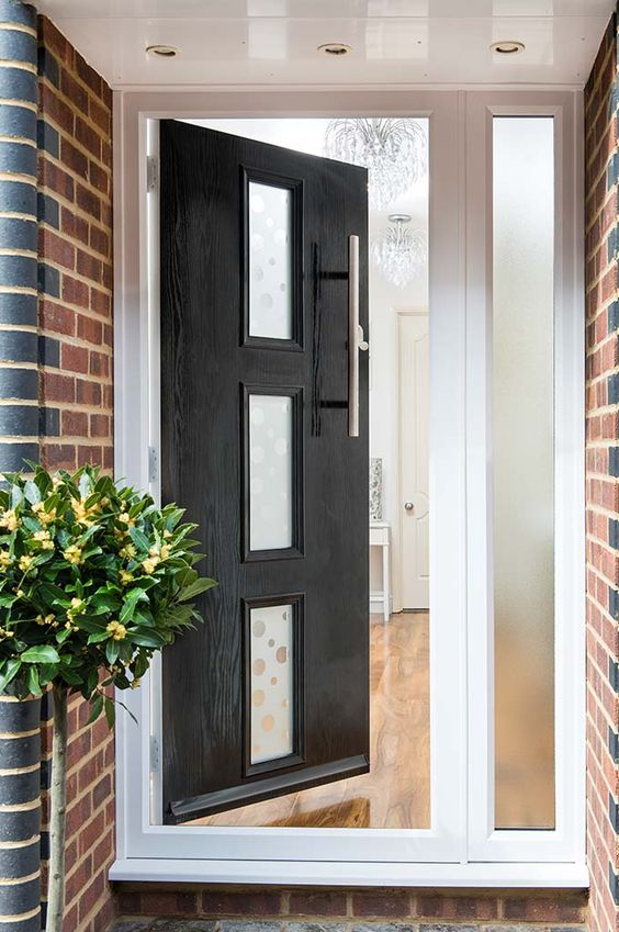 Open Black GRP Contemporary Door From Everest Shown From A Front View Doors
