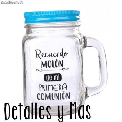 Jarras Frases para Detalles Bodas y Comuniones Jarras de Cristal con Ca/ñaRECUERDO MOL/ÓN COLOR AZUL