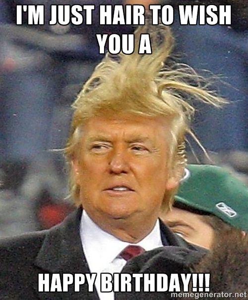 Funny Birthday Memes Donald Trump : Donald trump wild hair i m just to wish you a happy