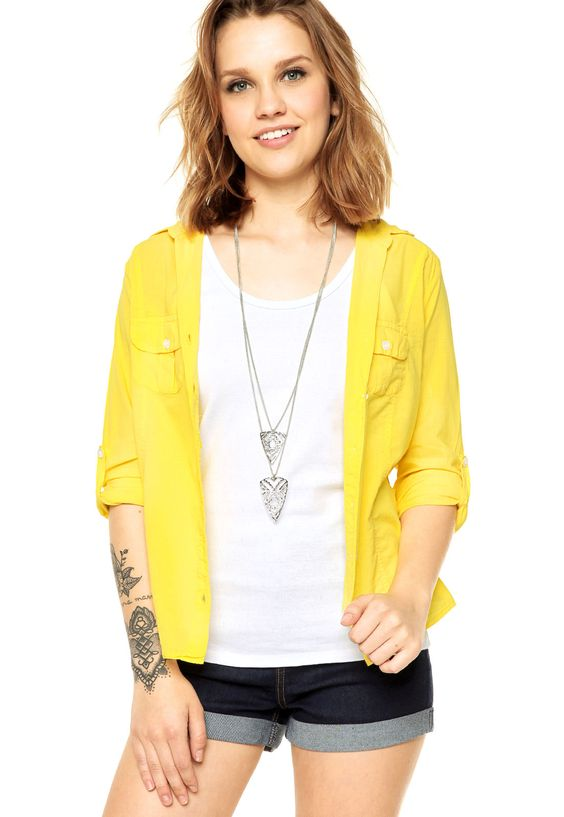 Camisa DAFITI JOY Casual Amarela - Marca DAFITI JOY
