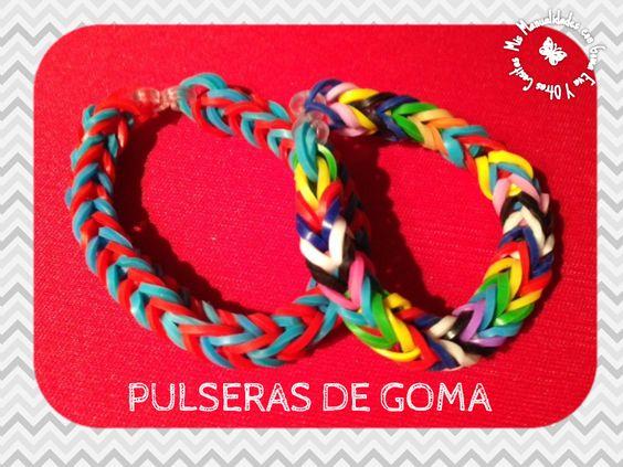 Pulseras hechas con gomas.  http://manualidadescongomaeva.blogspot.com.es/2014/03/pulseras-de-goma-la-ultima-moda.html
