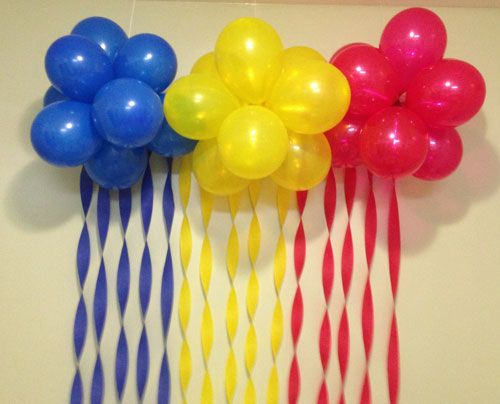 Birthdays streamers and steamers on pinterest for Balloon cloud decoration