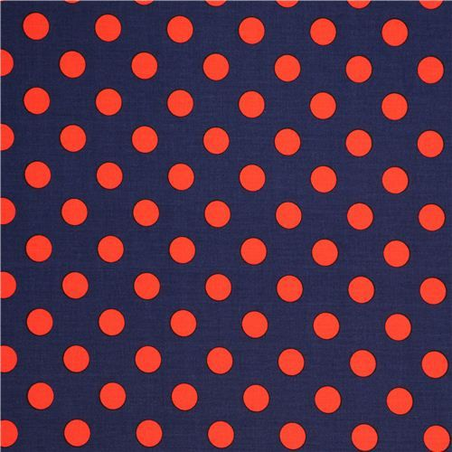 dark blue Michael Miller fabric with red polka dots