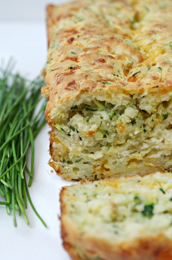 Cheddar, Chive and Zucchini Bread. Tastes just like Cheddar Biscuits ...