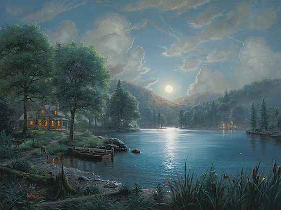 Moonlight Sonata by Mark Keathley ~ cabin lake serenity